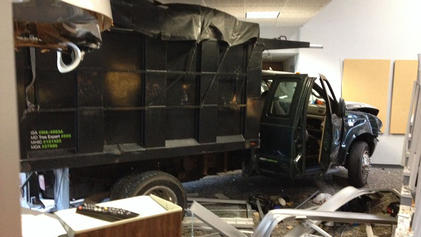 A truck rammed into the front of WMAR-TV ABC 2 in Baltimore Tuesday. Photo courtesy of NBC Washington.